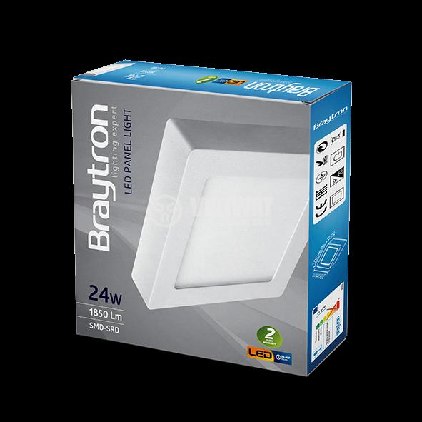 LED панел за обемен монтаж 24W, квадрат, 220VAC, 1752lm, 4200K, неутрално бял, 300х300mm, BP04-32410 - 8