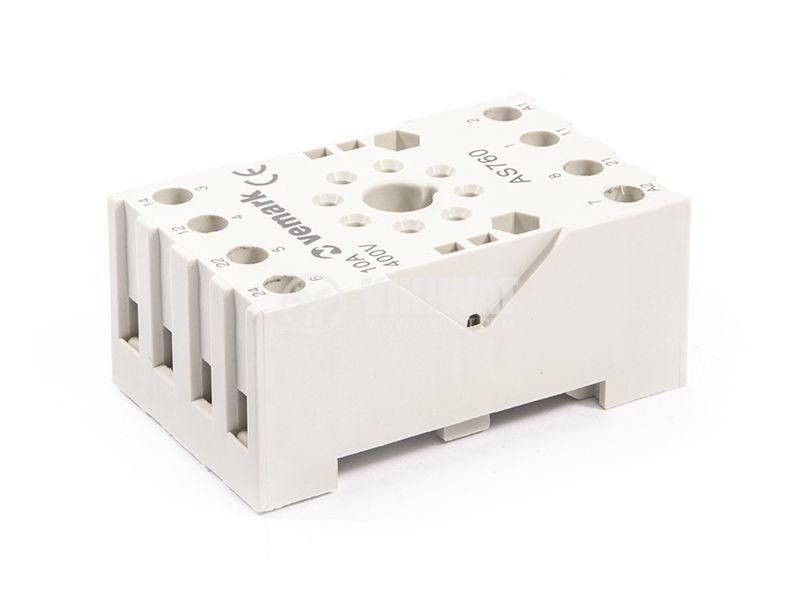 Relay socket, AS760, 10A, 400VAC, 8pin - 2