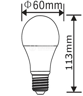 LED лампа 10W, E27, А60, 220VAC, 810lm, 4200K, неутрално бяла, BA20-1021, димируема - 2