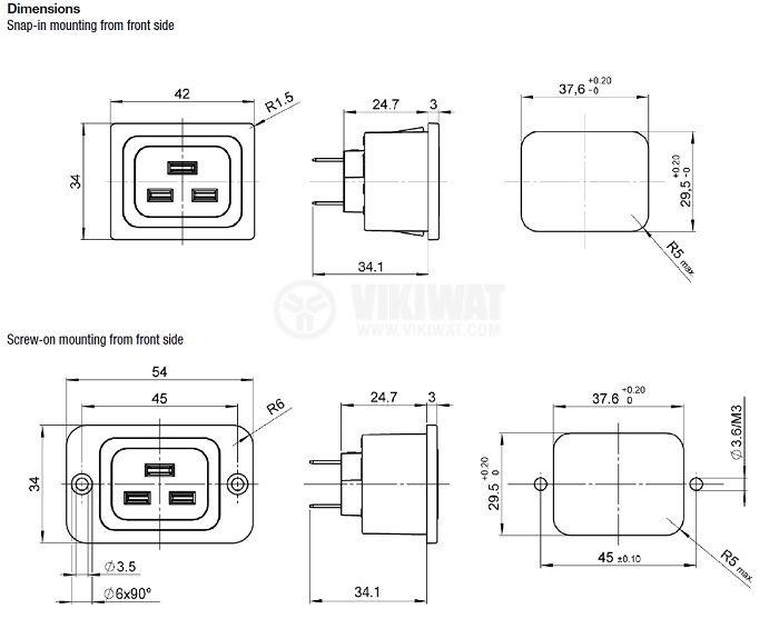 Захранващ мрежов конектор IEC 60320, C19 (J), гнездо женски 16A - 2