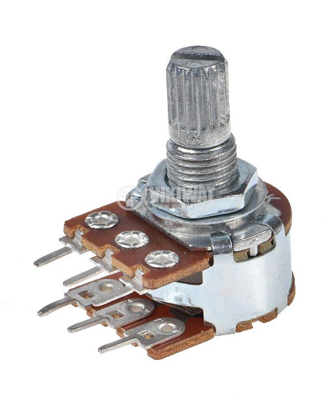Potentiometer Linear Tape Stereo Carbon 10kOhm WH148-1B-2-18T - 1
