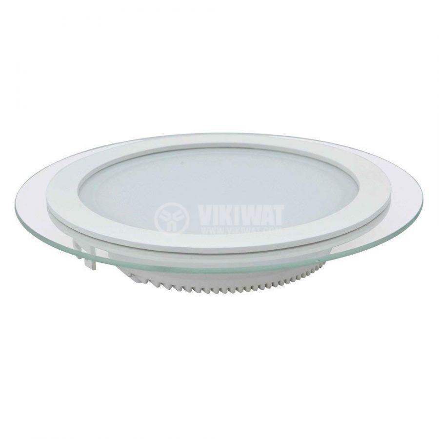 LED панел за вграждане 12W, кръг, 220VAC, 960lm, 6400K, студено бял, ф160mm, стъклена рамка, IP20, невлагозащитен, BL03-1220 - 3