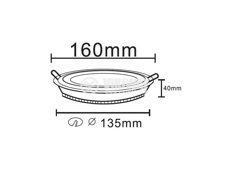 LED панел за вграждане 12W, кръг, 220VAC, 960lm, 6400K, студенобял, ф160mm, стъклена рамка, BL03-1220 - 2