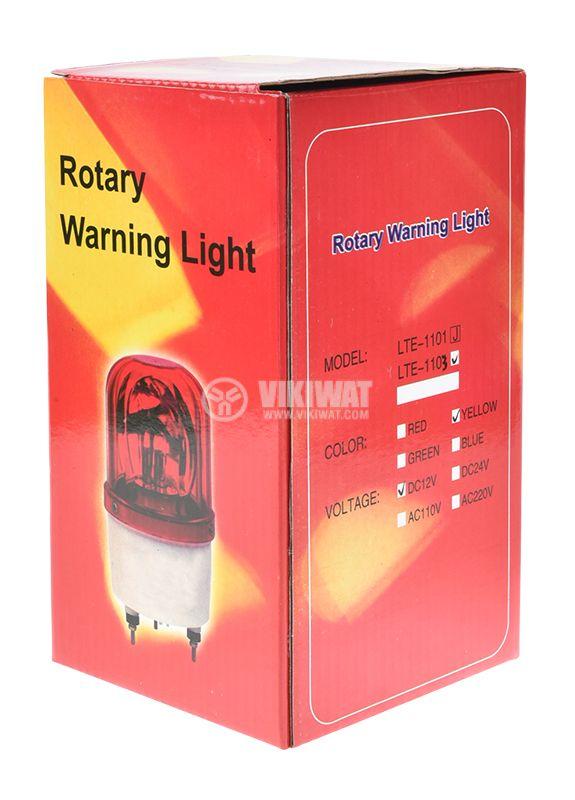 Сигнална ротационна лампа LTE-1103 12V 10W жълтa - 4