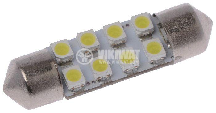 Автомобилна LED лампа крушка 12V SV8.5 36mm студено бяла