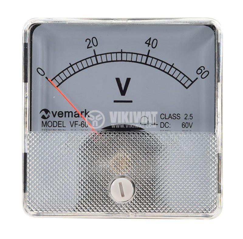 Волтметър, 60 VDC VF-60, размери 60x60mm - 2