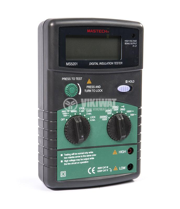 Digital Insulation tester MS5201, 250 - 1000V, 2000MOhm, DC and AC - 4