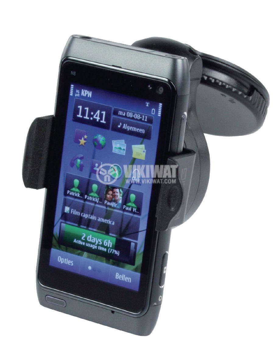 Универсална стойка за телефон, от 3.5 до 5.3 инча, за автомобил, регулируема, черна  - 4