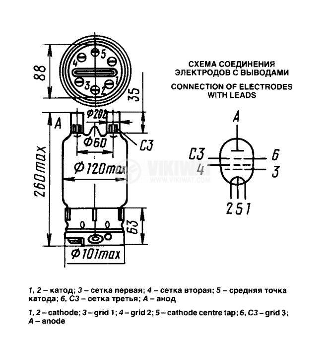 Powerful generator Pentode - for radio transmitters and amplifiers GU-81M - 2