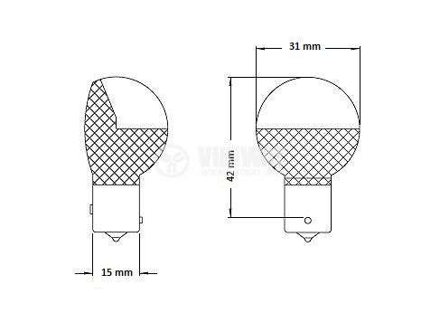 Navigation Lamp A-7512-24, 28 V, 28 W, BAY15S, with amalgam coated balloon - 3