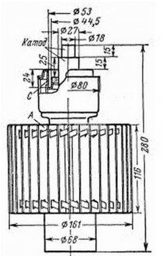 Powerful generator lamp - triode  GU-56 - 2