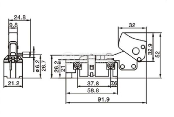 Power hand tools switch FA7-12/2B 12 A, 250 VAC, 2NO - 2