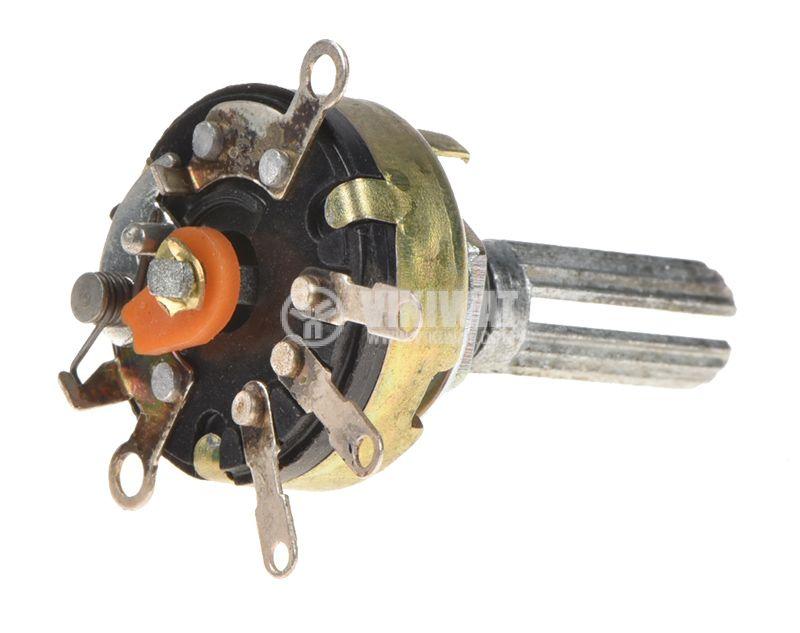 Потенциометър ротационен, с ключ, линеен, моно, 20kOhm - 2