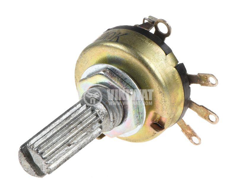 Потенциометър ротационен, с ключ, линеен, моно, 20kOhm - 3