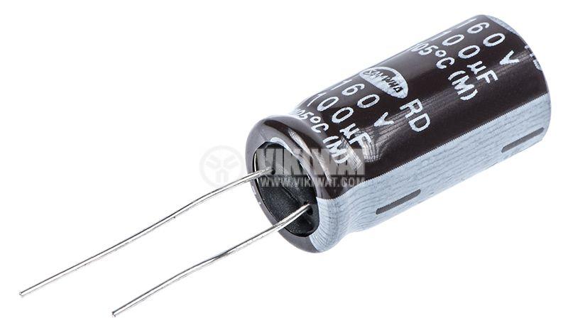 Кондензатор електролитен 100uF, 160V, THT, ф13x26mm - 2