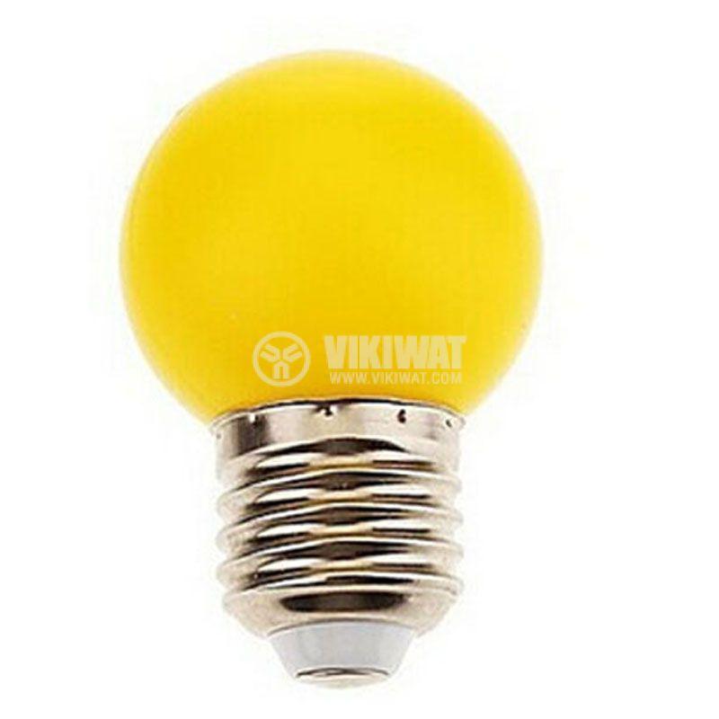 LED лампа BA70-0120, E27, 1W, 220VAC, мини сфера, жълта - 2