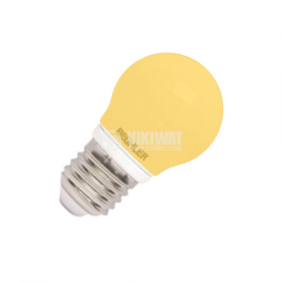 LED лампа 1W, E27, 220VAC, мини сфера, жълта, BA70-0120 - 1