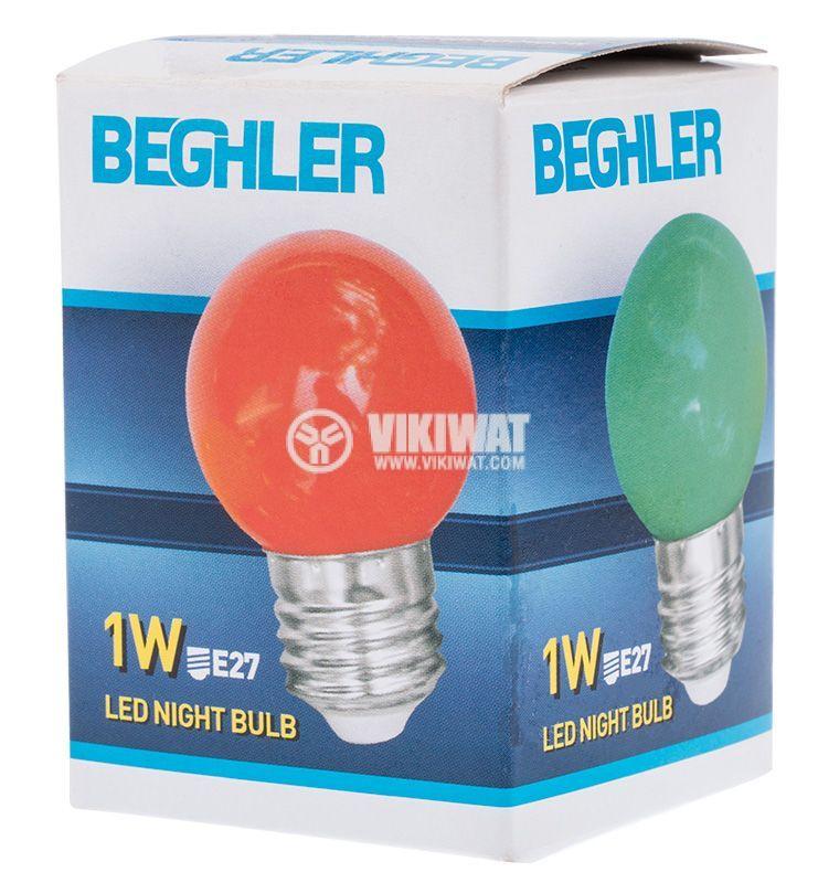 LED лампа 1W, E27, G45, 220VAC, мини сфера, жълта, BA70-0120 - 5