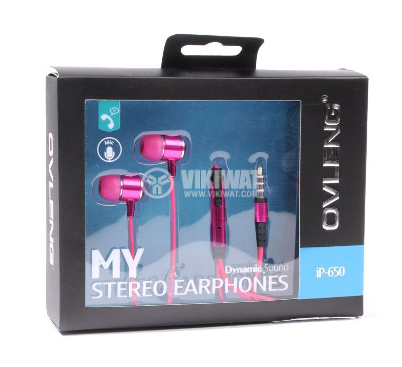 Headphones OVLENG iP-650, 3.5mm, pink - 3