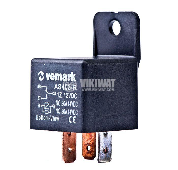 Електромагнитно автомобилно реле бобина с резистор 12VDC/30A SPDT - NO+NC, AS403R - 1