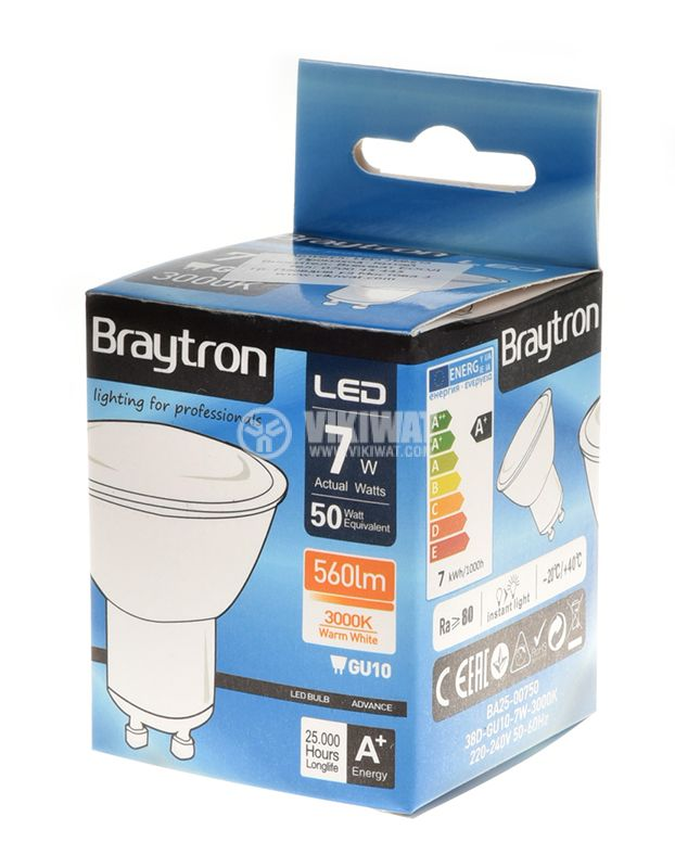 LED spotlight, 7W, 220VAC, GU10, warm white, BA25-00750 - 7