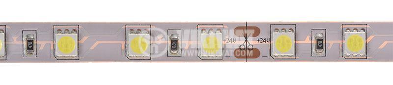 Светодиодна лента LED, 60 диода на метър, неутрално бяла, 24VDC, 14.4W/m - 1