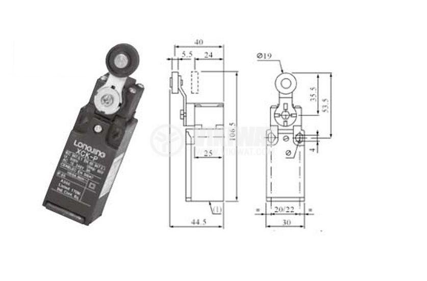 Краен изключвател XCK-P118, DPST-NO+NC, 10(4)A/250VAC, рамо с ролка - 4