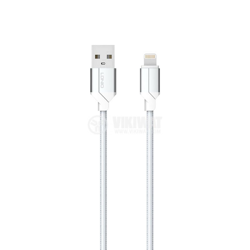 USB-A / microUSB cable, 2m, silver - 1