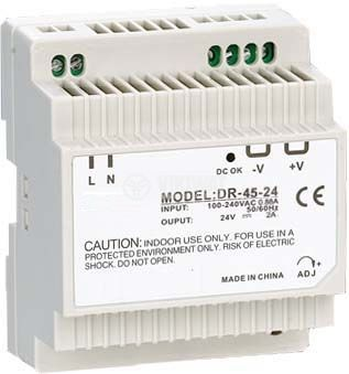 Switching power supply for DIN rail 24VDC, 2A, 45W, VDR45-24