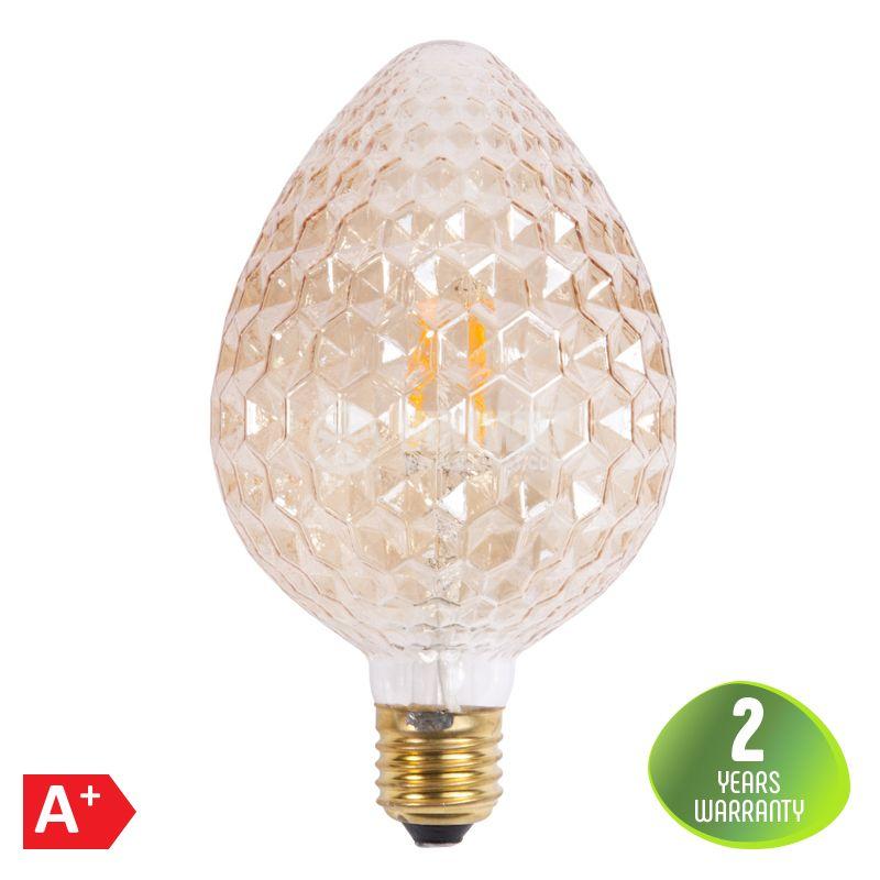 LED лампа FILAMENT 4W, E27, HR95, 220VAC, 350lm, 2200K, топло бяла, шишарка, amber, BB55-00420 - 1