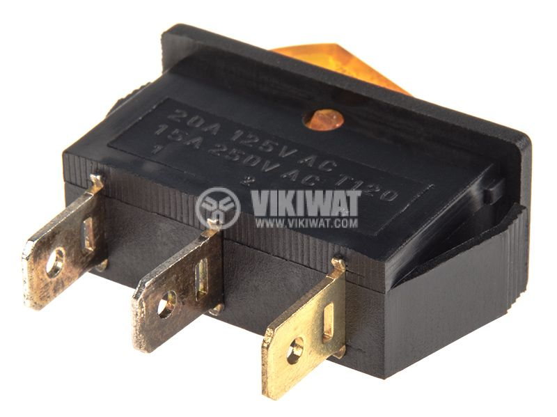 Rocker Switch, 2-position, OFF-ON, 15A/250VAC, hole size 32x11mm - 3