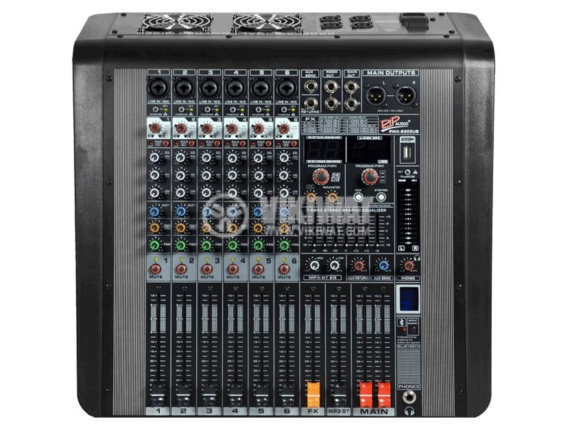 Professional mixer MPX-6300UB, 6-channel, Bluetooth, USB, MP3 - 2
