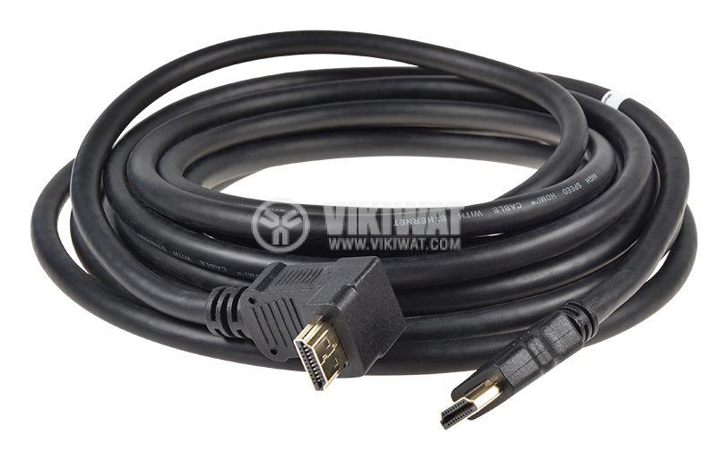 Кабел HDMI мъжки към HDMI мъжки конектор, 5 метра, г-образен конектор, VGVP34210B50  - 3