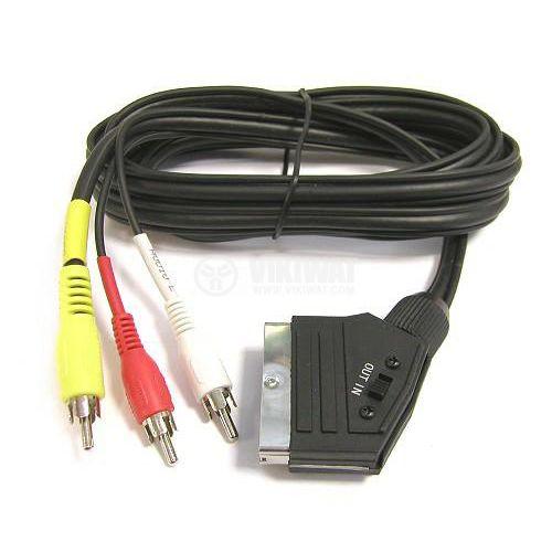 Кабел SCART/m - 3xRCA/m, 2m, черен, PVC, CVGP31130BK20, NEDIS - 4