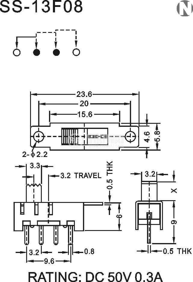 Превключвател SS-13F08 3 позиции 4 крачета - 2
