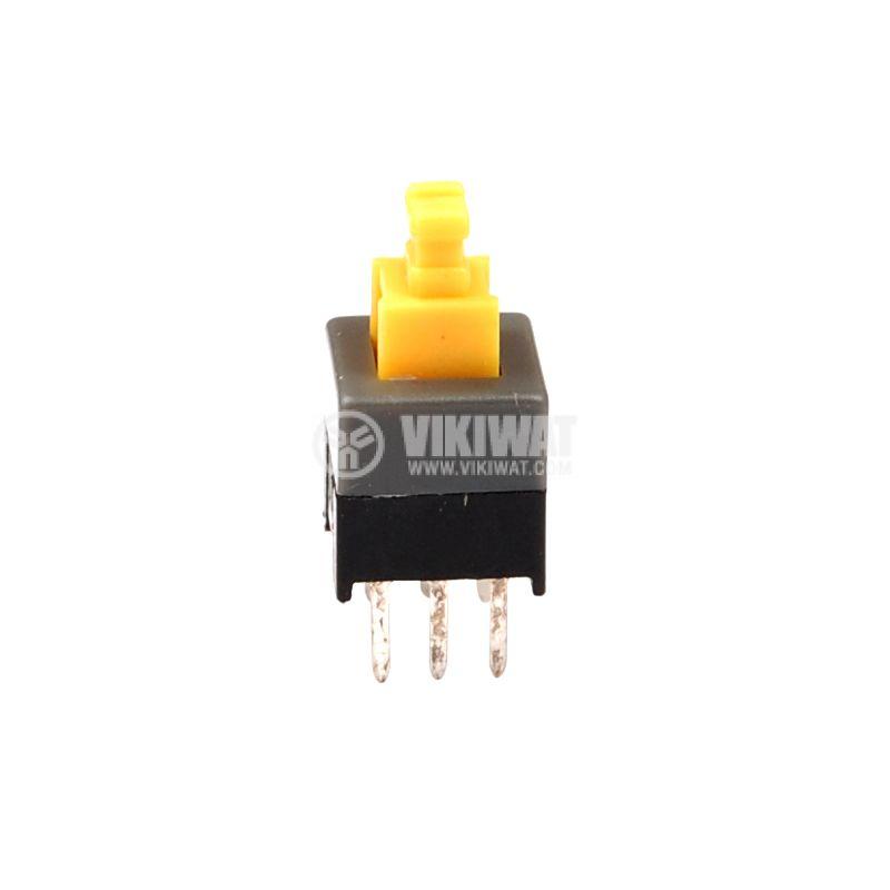 Превключвател тип изостат 50 V, 0.5 A, DPDT, незадържащ, жълт клавиш, 7x7x12mm