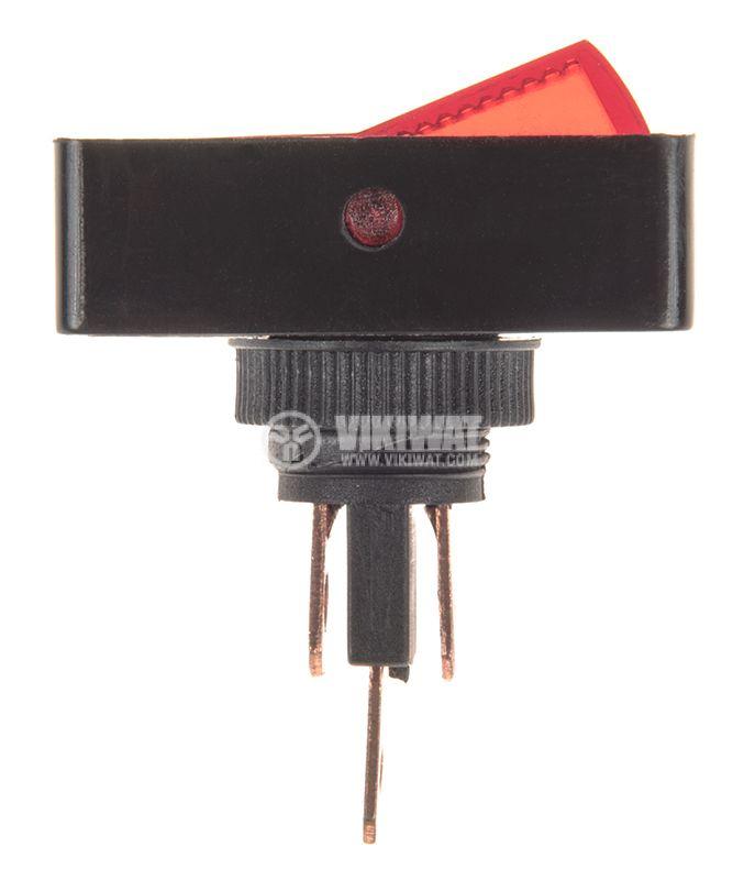 Клавишен превключвател rocker ASW-11D, 20A, 12VDC, ON-OFF, SPST червен - 2