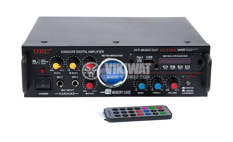 Amplifier UKC AV-339A, karaoke, USB port, SD slot, MP3, FM - 2