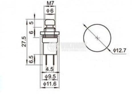 Button Switch, PBS-10B, NO, 2A, 230VAC, dark blue - 2