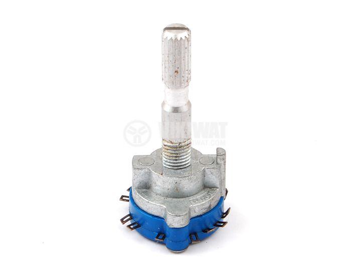Ротационен превключвател (Галета) - 1 секция, 3 положения, 13 пина, ф24x45, пластмаса и алуминий
