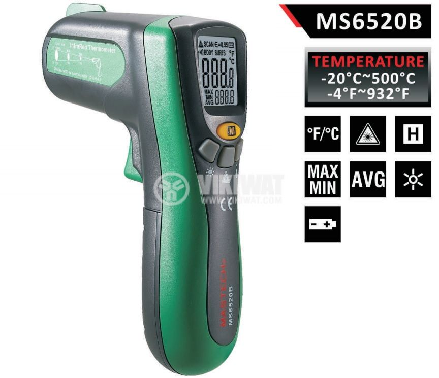 Infrared thermometer, MS6520B, - 20 °C to +500 °C, D:S 10:1 - 1