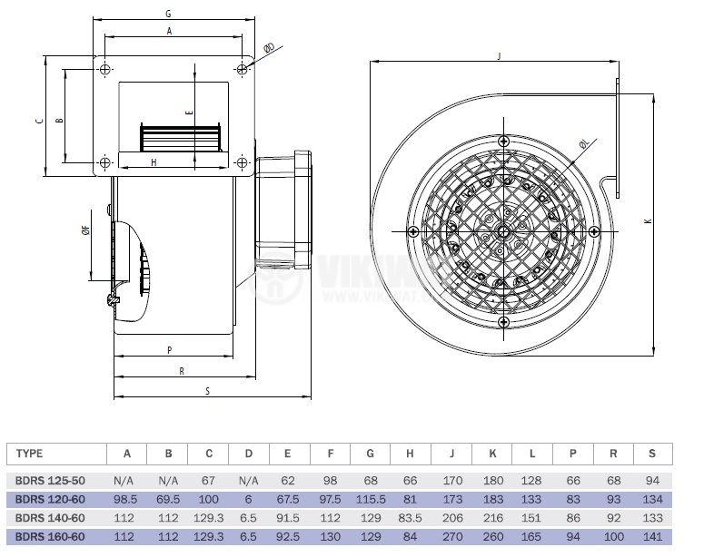 """Вентилатор, промишлен, центробежен,  BDRS 160-60, 220VAC, 205W, 600m3/h, тип """"охлюв"""" - 5"""