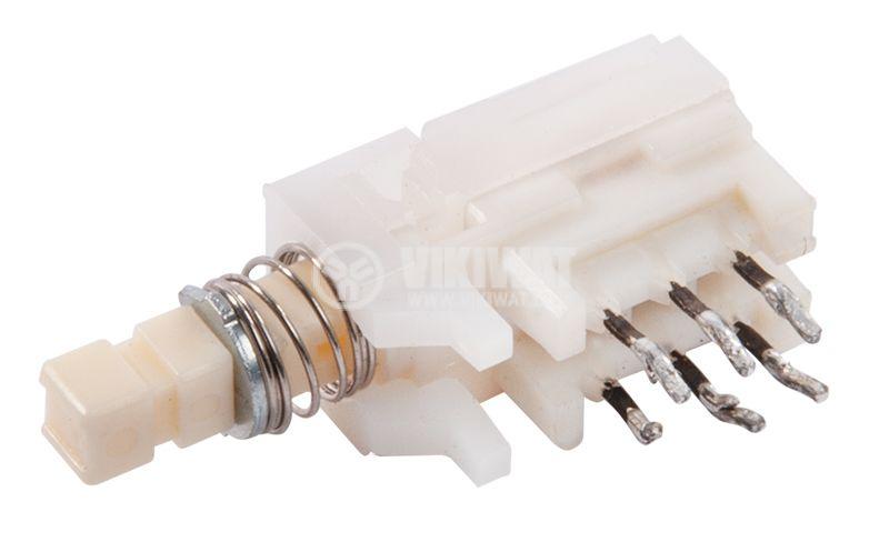 Isostatic switch, DPDT retention, white key, 7x10x15mm - 2