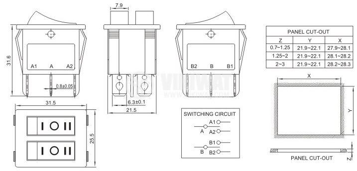 Клавишен превключвател rocker, 10A/250VAC, 2x3 позиции, I-0-II, SP3T+SP3T - 4