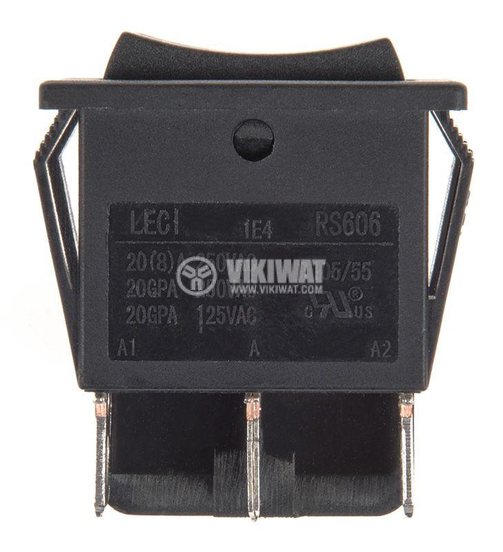 Rocker превключвател, 2x3 позиции, ON-OFF-ON, 20A/250VAC, отвор 28x22mm - 2