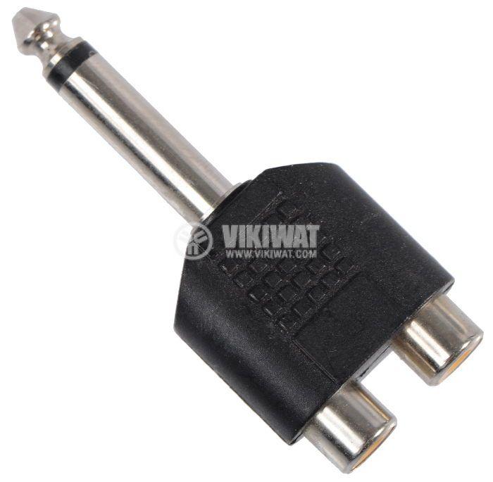 Adapter, plug 6.3 mono M-2xRCA F - 1