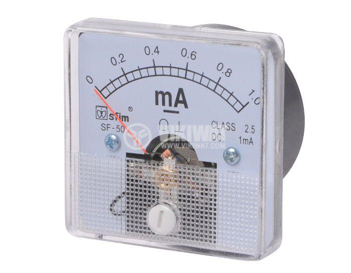 Ammeter, 0-1 mA, DC, 50x50 mm, SF-50 - 1