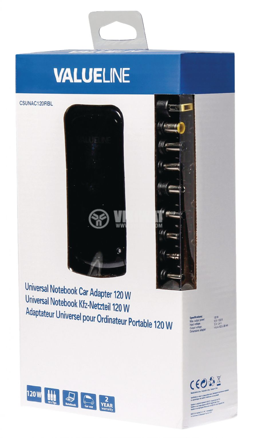Power Adapter CSUNAC120RBL, 15/16/18/19/20/22/24 VDC, 5000 mA - 2