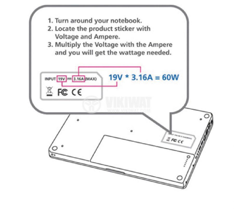 Power Adapter CSUNAC120RBL, 15/16/18/19/20/22/24 VDC, 5000 mA - 6