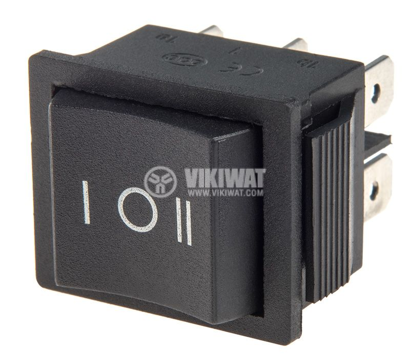 Rocker Switch, 3-position, ON-OFF-ON, 10A/250VAC, hole size 28x22mm - 1